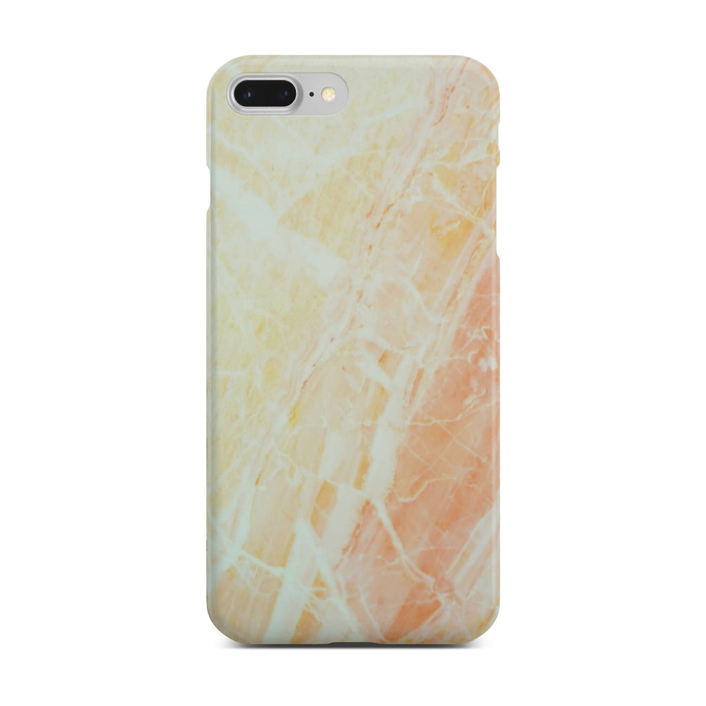 Matt Yellow Marble Case On Silver iPhone 8 Plus