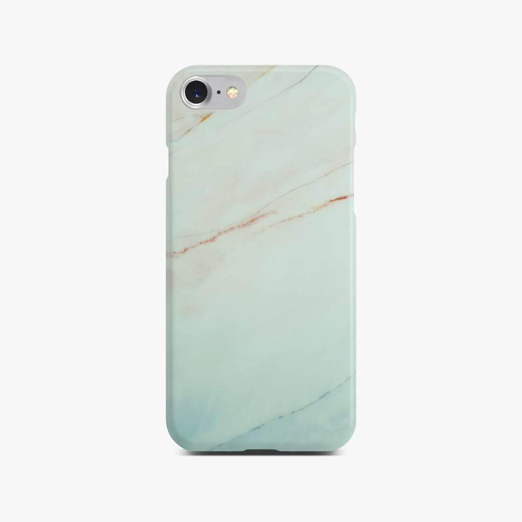 Matt White Marble Case On Silver iPhone 8