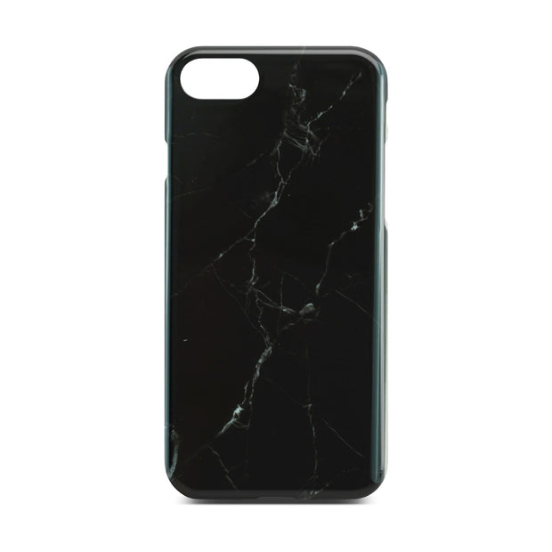 Black Glossy Marble Case (Half Warp) For iPhone 8
