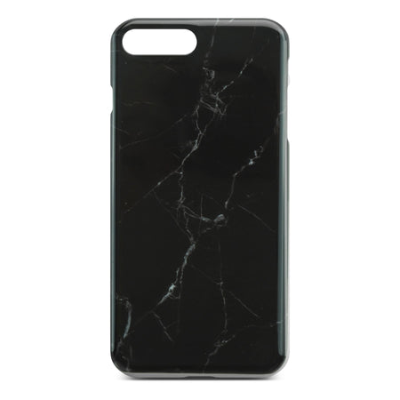 Black Glossy Marble Case (Half Warp) For iPhone 8 Plus
