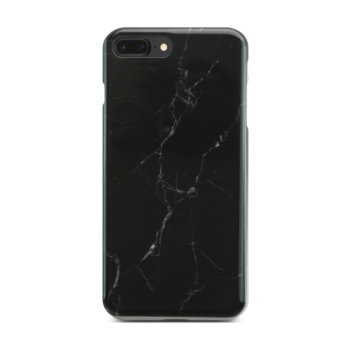 Black Glossy Marble Case (Half Warp) On Black iPhone 8 Plus