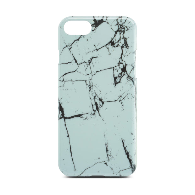 White Glossy Marble Case (Half Warp) For iPhone 8