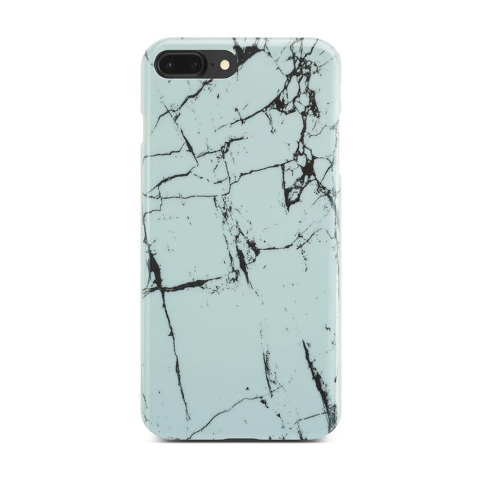 White Glossy Marble Case (Half Warp) On Black iPhone 8 Plus