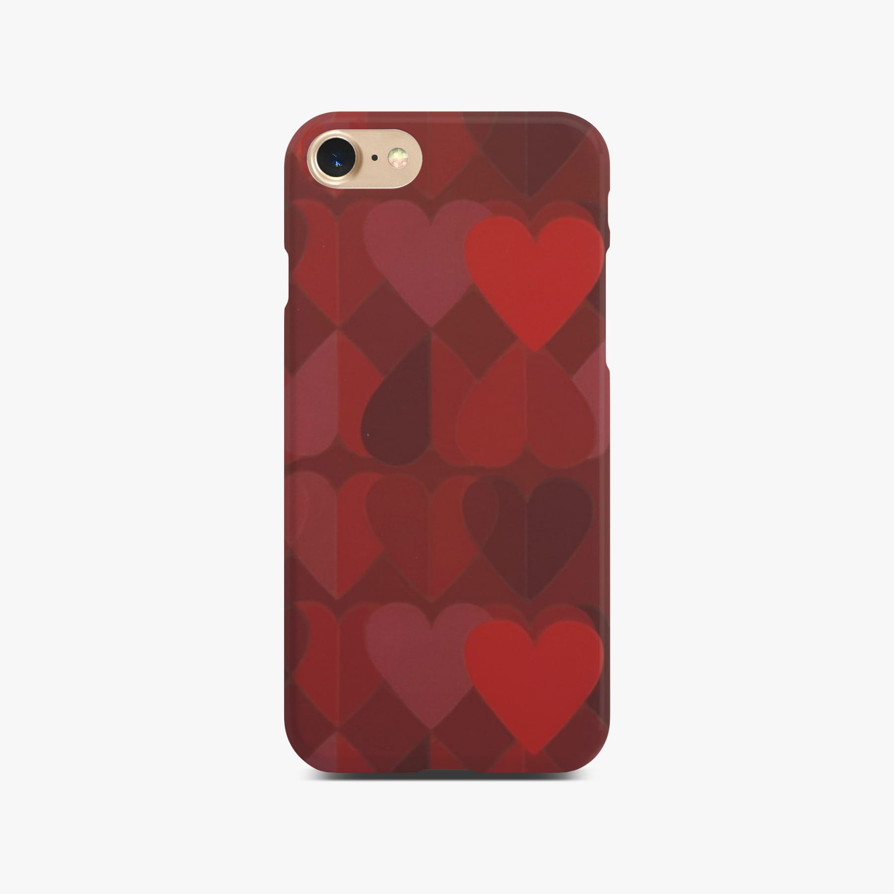 Red Heart Case on Gold iPhone 8