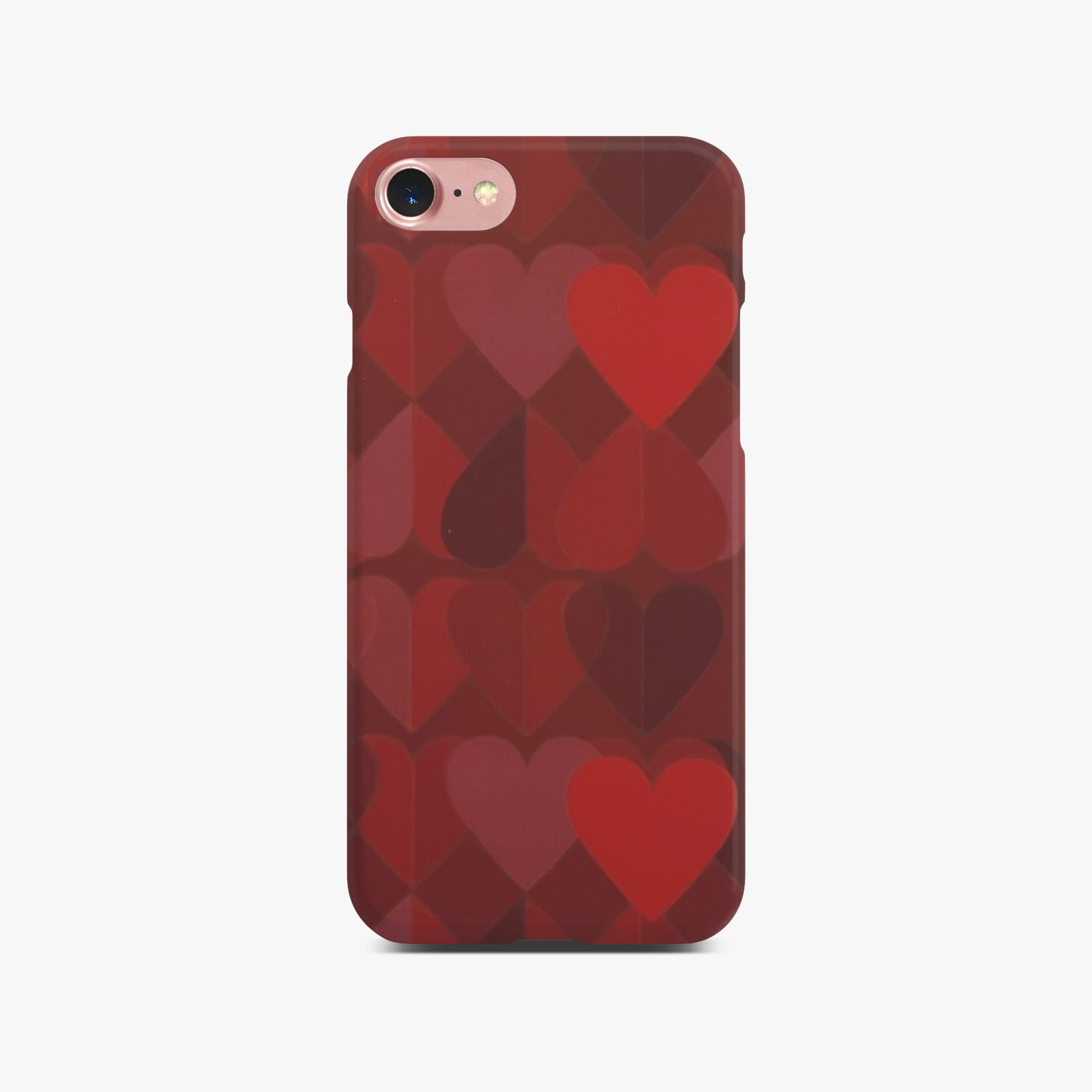 Red Heart Case on Rose Gold iPhone 8