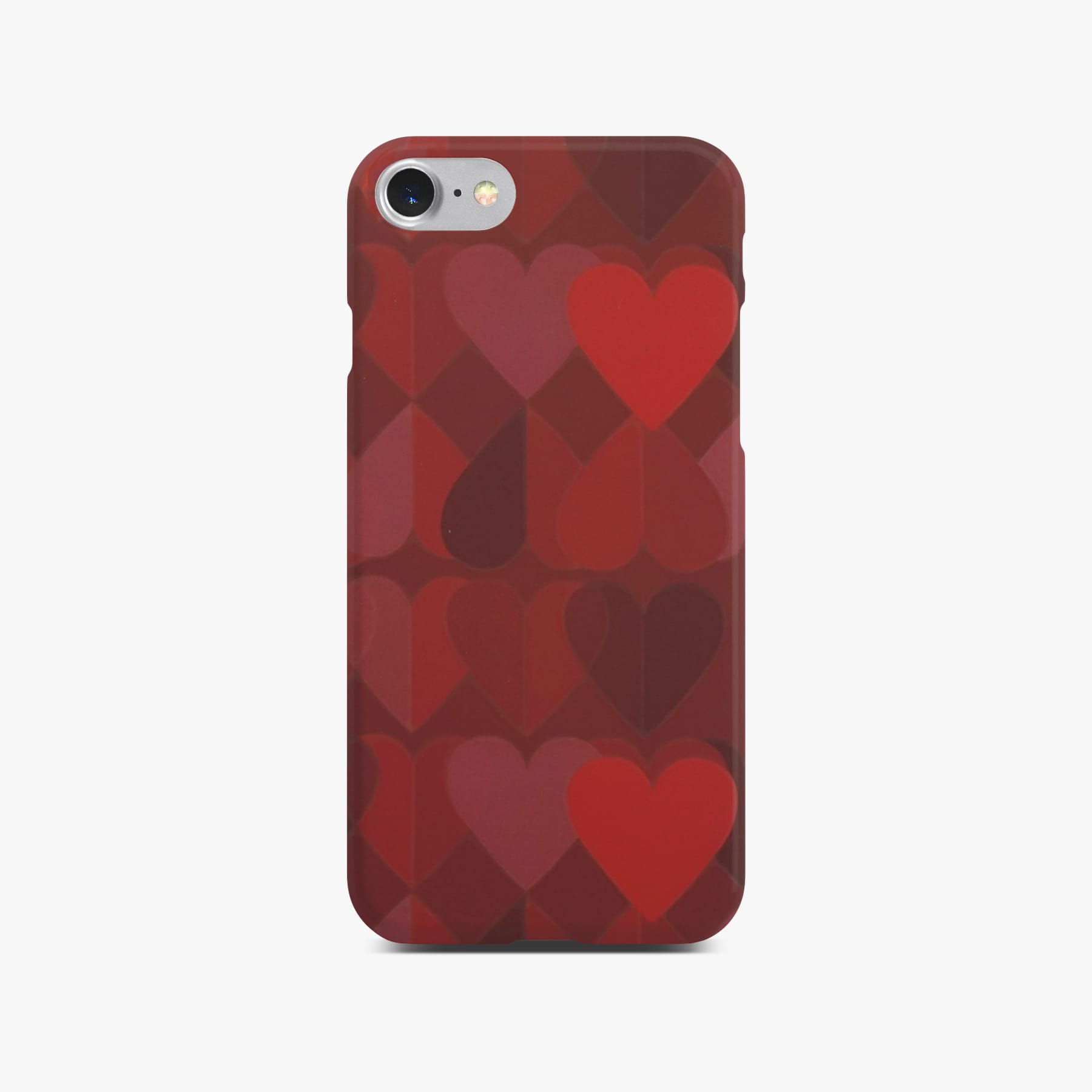 Red Heart Case on Silver iPhone 8