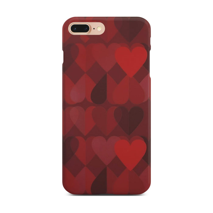 Red Heart Slim Case On Gold iPhone 8 Plus