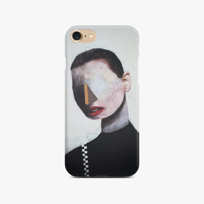 White Abstract Portrait Slim Case On Gold iPhone 8