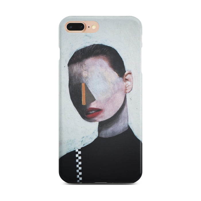 White Abstract Portrait Slim Case On Gold iPhone 8 Plus