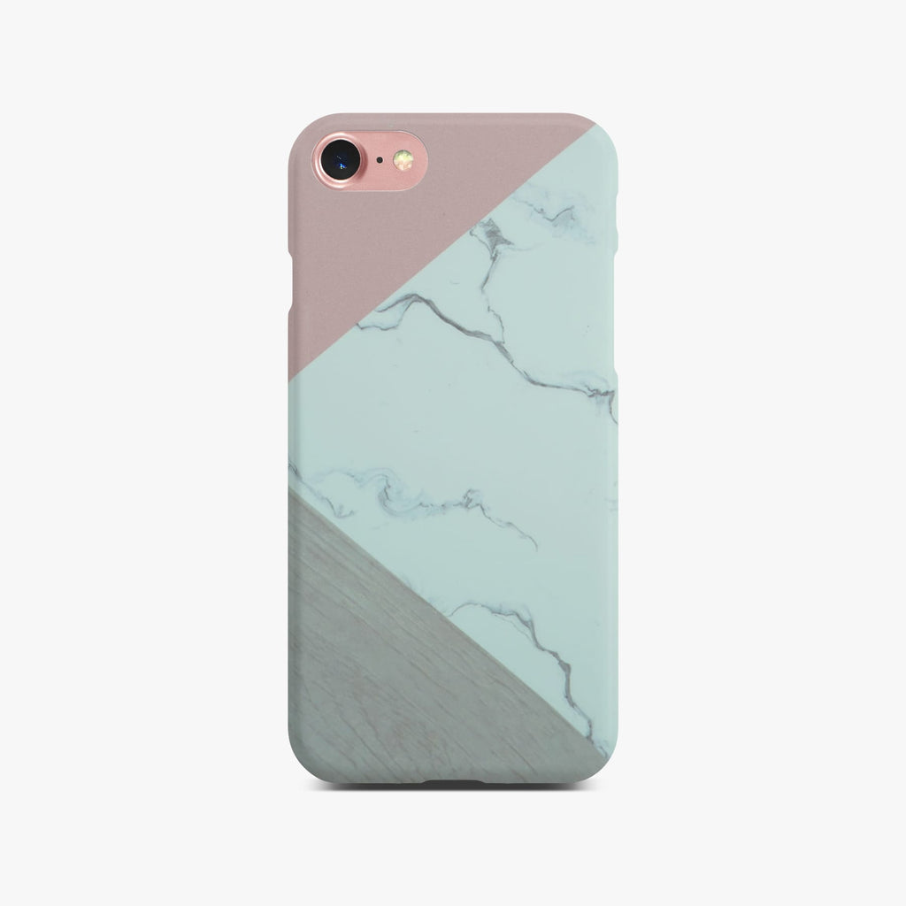 Abstract Pink Marble Slim Case On Rose Gold iPhone 8