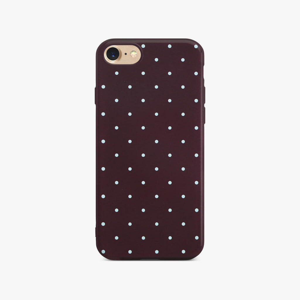 Red Dotty Slim Case On Gold iPhone 8