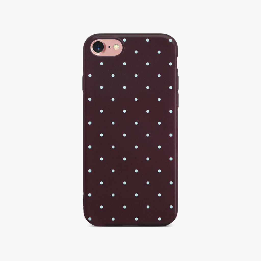 Red Dotty Slim Case On Rose Gold iPhone 8