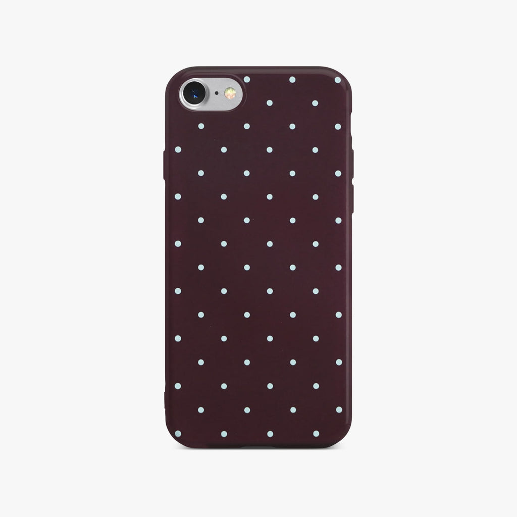Red Dotty Slim Case On Silver iPhone 8