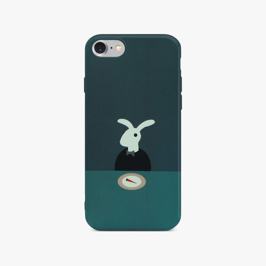 Cute Rabbit Slim Case On Silver iPhone 8
