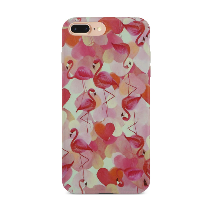 Red Flamingo Slim Case On Gold iPhone 8 Plus