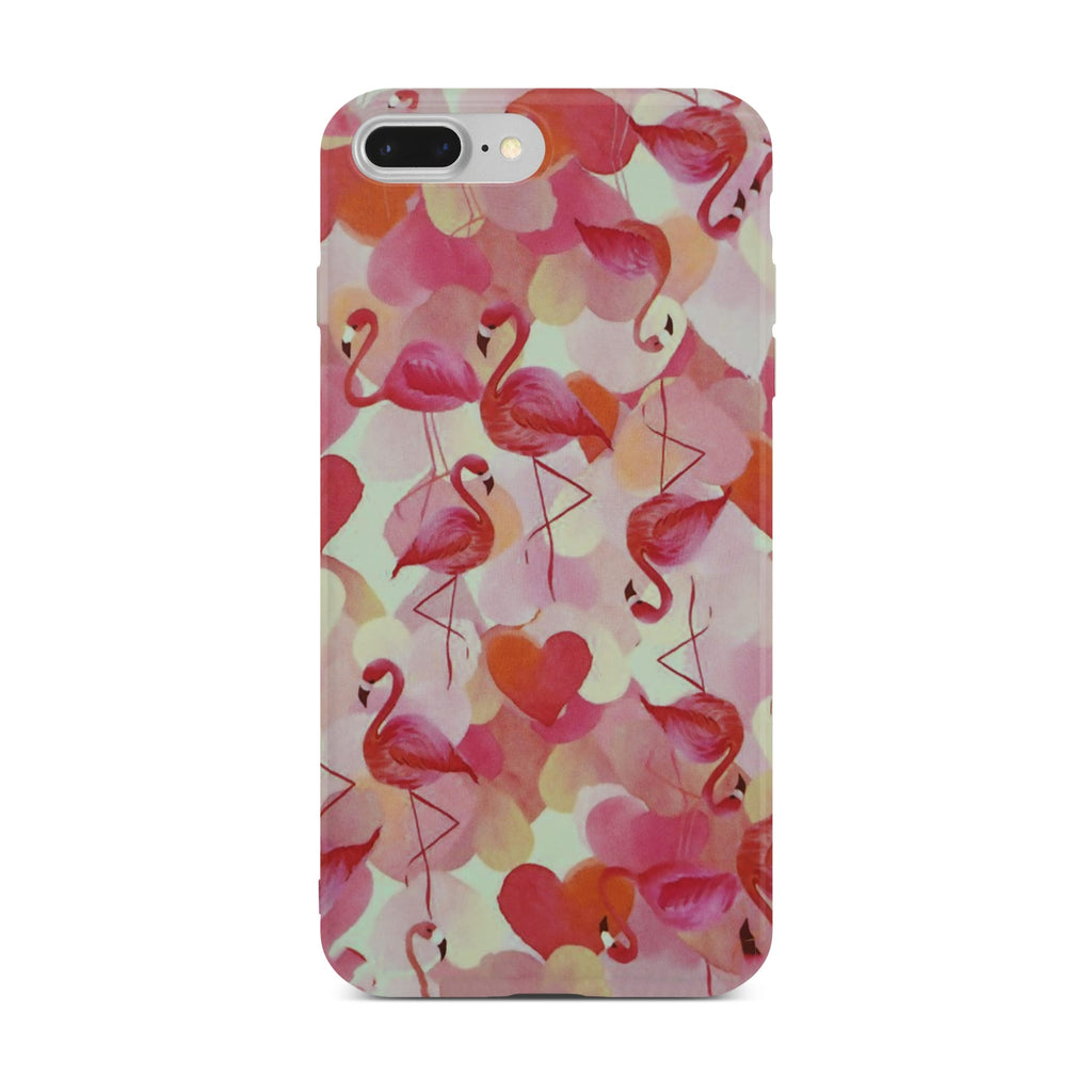 Red Flamingo Slim Case On Silver iPhone 8 Plus