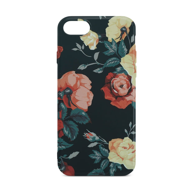 Black Flower Sllim Case For iPhone 8