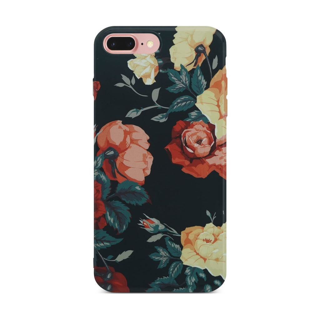 Black Flower Slim Case On Rose Gold iPhone 8 Plus