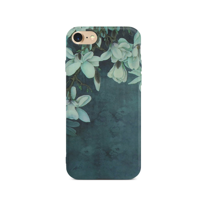 Dark Green Flower Case On Gold iPhone 8