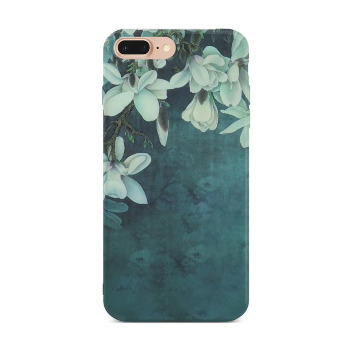 Dark Green Flower Slim Case On Gold iPhone 8 Plus