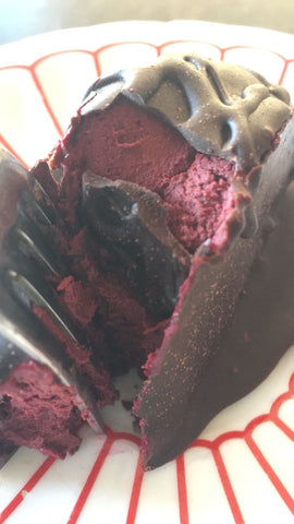 Organic Raw Dark Chocolate Pink Fondant made with Zucchini, Beets, Sweet Potato