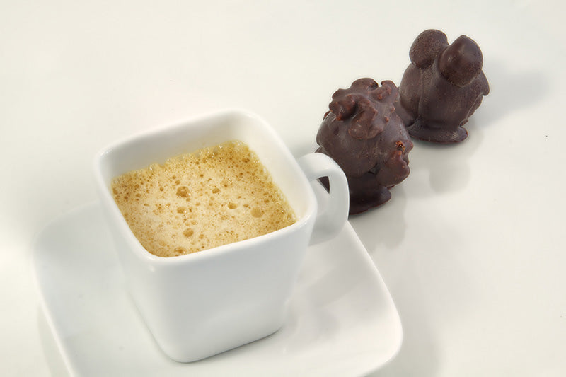 Hnina Raw Dark Chocolate Rock Walnuts + Cashews Pairing with Espresso