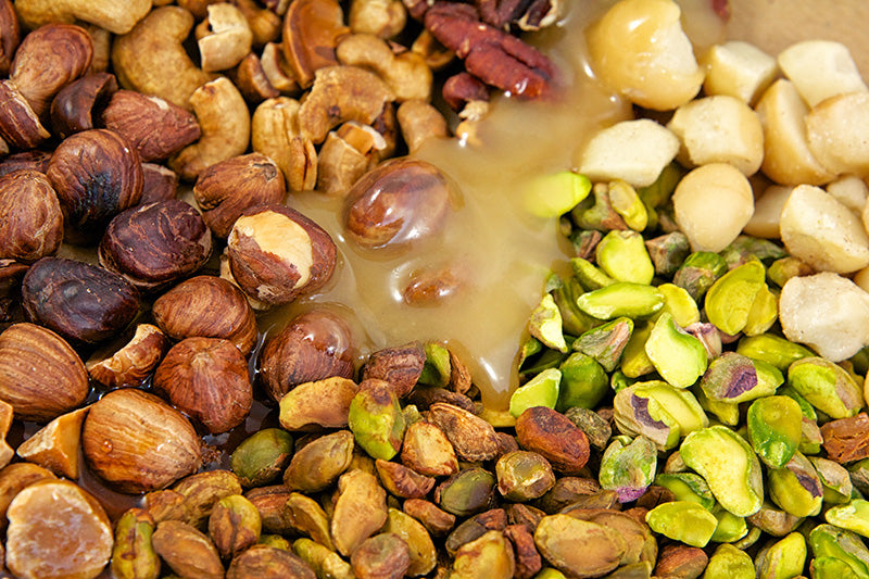 Hnina Sprouted Raw Hazelnuts and Sprouted Raw Pistachios and Raw Honey