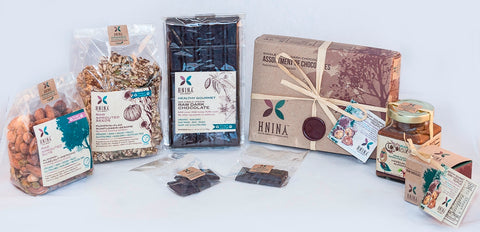 Organic raw dark Chocolate Sprouted nuts and compostable packaging