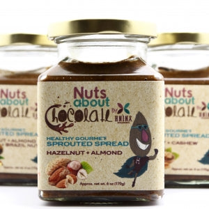 Nuts About chocolate sprouted spread made sprouted Hazelnuts and sprouted Almonds with raw cacao and vanilla beans.