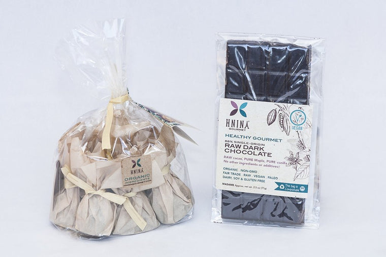 HNINA Organic Fairtrade Raw Dark Chocolate specialties are Free of sugar, emulsifier, dairy, preservatives include our pure raw dark chocolate, pure raw dark chocolate truffles made with sprouted nuts or sprouted seeds and pure raw cacao sprouted spread. This is perfect if you need to preserve your health and want to eat delicious food.  This can stop your sugar cravings by nourishing you with real nutrients dense foods. Get your body nourished with pure gourmet divine treats.