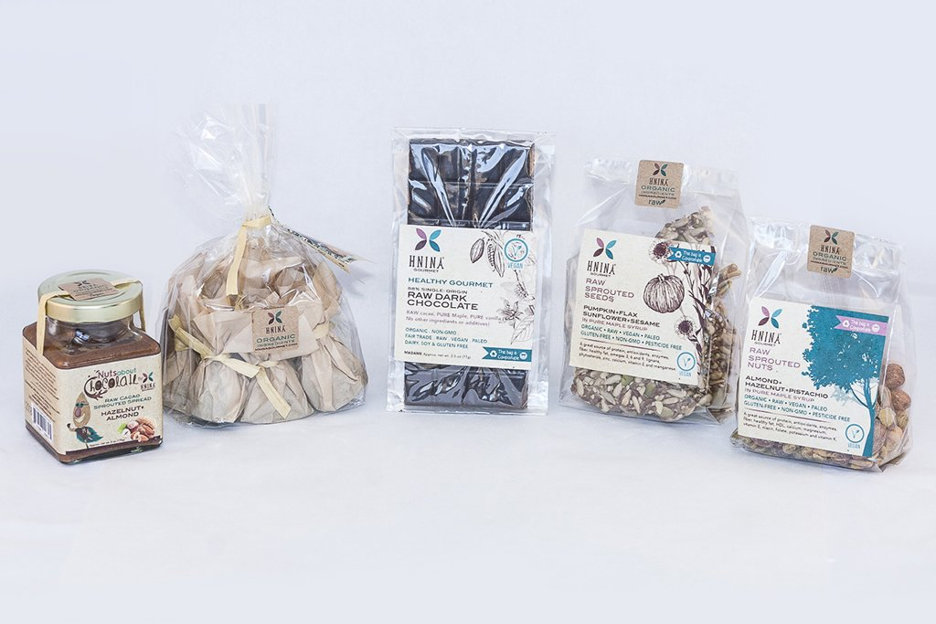 HNINA Organic Fairtrade Raw Dark Chocolate specialties are Free of sugar, emulsifier, dairy, preservatives include our sprouted seeds snacks, sprouted nuts snacks, pure raw dark chocolate, pure raw dark chocolate truffles made with sprouted nuts or sprouted seeds and sprouted spread. This is perfect if you need to preserve your health and want to eat delicious food.  This can stop your sugar cravings by nourishing you with real nutrients dense foods. Get your body nourished with pure gourmet divine treats.