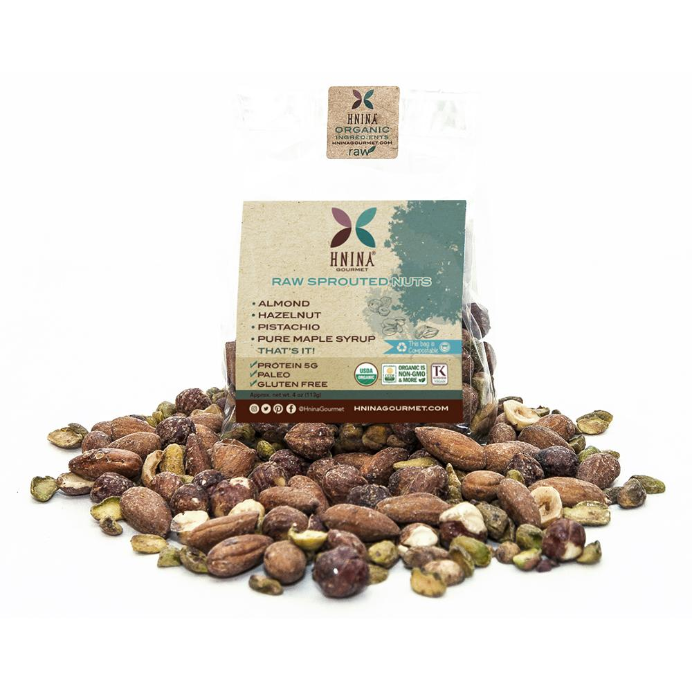 Hnina Raw Sprouted Nuts snacks are composed of activated raw pistachios, activated raw almonds and activated raw hazelnuts covered with a little bit of pure maple syrup, like the French chouchou. They are satiating, nourishing and delicious.