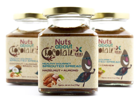 Hnina Healthy Sprouted spread combination made with all organic ingredients: raw cacao mass, sprouted nuts, date and vanilla beans