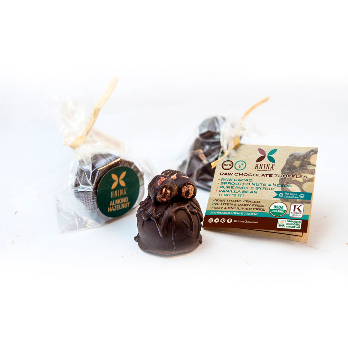 Healthy gourmet raw dark chocolate sprouted almonds sprouted hazelnuts pure maple syrup & vanilla