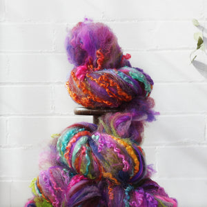 Farm Fluff // Art Batt for spinning & felting // Rainbow Aura
