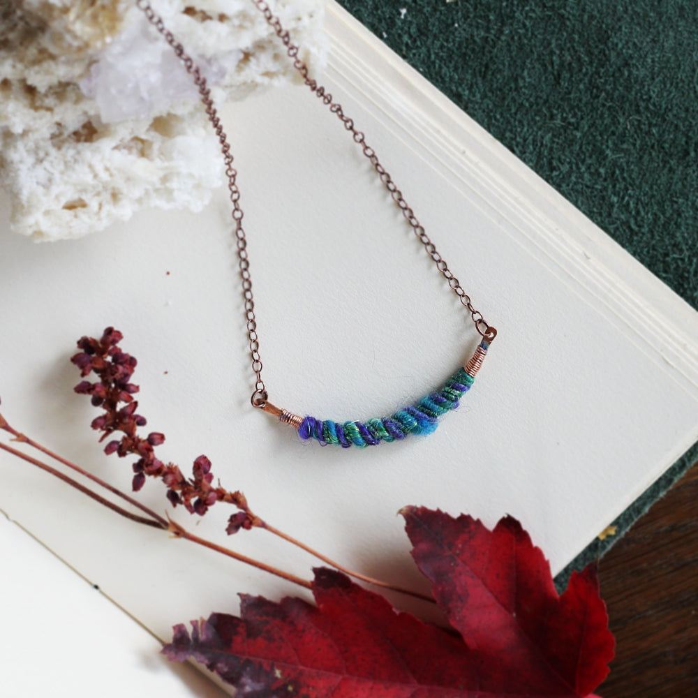 Fiber Art Necklace // Aromatherapy diffuser // Handmade in Denver, CO // Hand forged copper and Hand crafted yarn