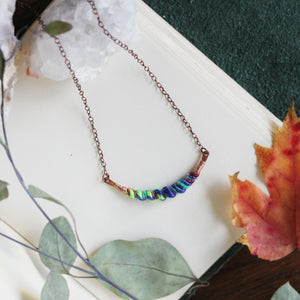 fiber art necklace / aromatherapy diffuser / handmade in Denver, CO