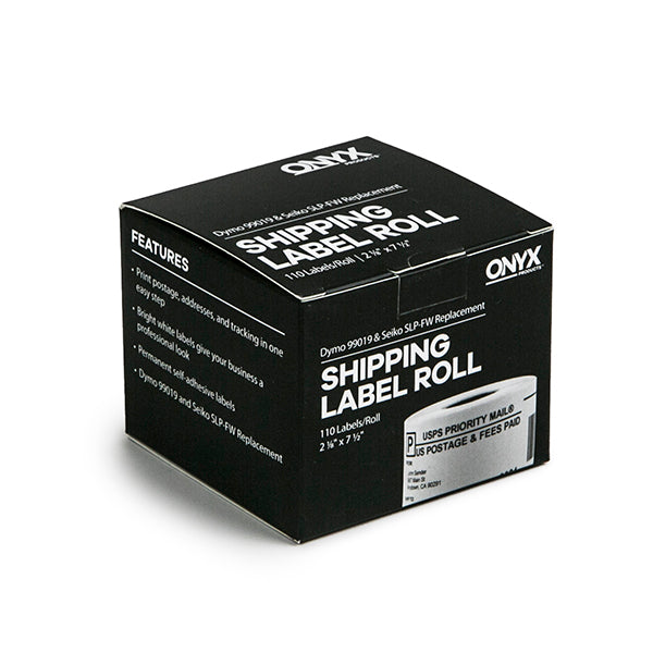"ONYX Products® 2 1/8"" x 7 1/2"" Dymo & Seiko Compatible Shipping Label Roll, 110 Labels/Roll"