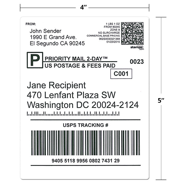 "4"" x 5"" Shipping Labels"