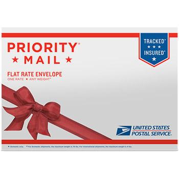 "Priority Mail Flat Rate Gift Card Mailer 10"" x 7"", 5/pack"