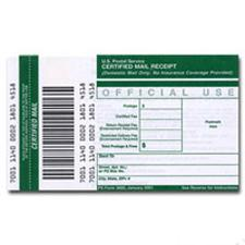Receipt for Certified Mail, 10/pack