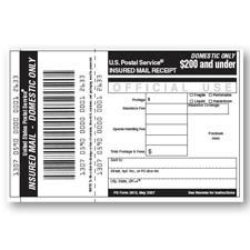 Domestic Insurance Receipt (Under $500 Indemnity Coverage), 10/pack