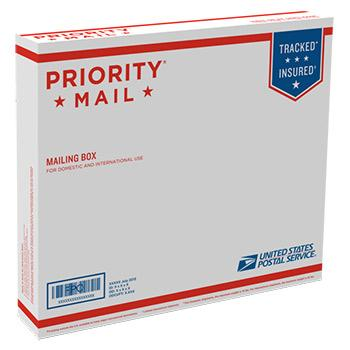 "Priority Mail Box 13 7/16"" x 11 5/8"" x 2 1/2"", 25/pack"