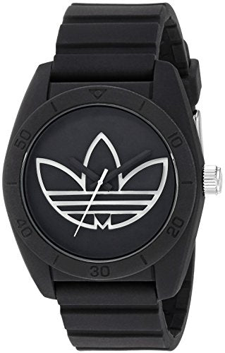 Adidas Men's 'Santiago' Quartz Plastic and Silicone Casual Watch: Black