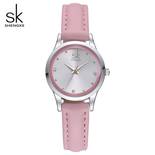 SK Brand Ladies Watches Elegant Rhinestone Quartz Watch Thin Leather Strap Waterproof