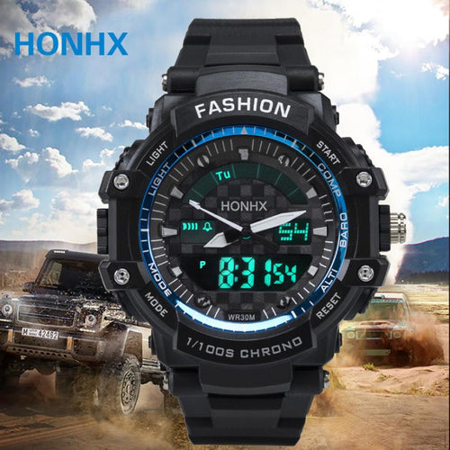 Men sport watches HONHX dual display watch LED digital watch Silicone quartz watch 30M waterproof wristwatches For Men #516
