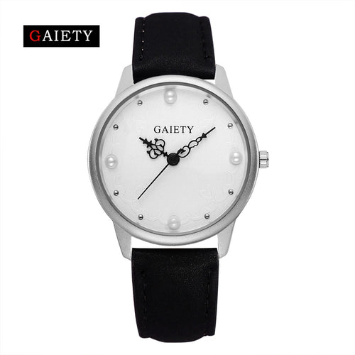 Quality Leather Pearl Dress Quartz Wristwatch for Women