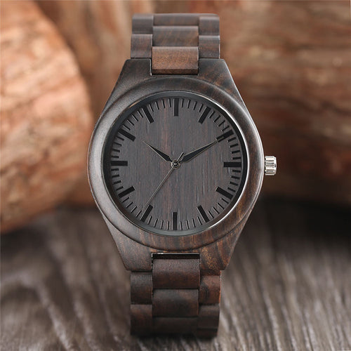Unisex Nature Bamboo Bangle Quartz Wristwatch - Handmade
