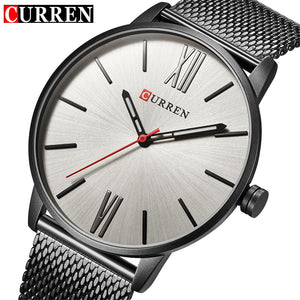 CURREN Luxury Brand Quartz Watch Men's Casual Business Stainless Steel Mesh band