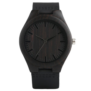 Modern Full Black Men's Ebony Wood Quartz Watch - Hand-made Light Bamboo Wristwatch with Genuine Leather Watchband